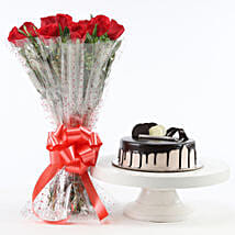 Red Roses And Chocolate Cake Combo: Send Flowers to Dhule