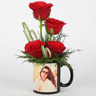 Red Roses in Personalised Black Mug: Custom Photo Coffee Mugs