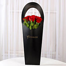 Red Roses in Stylish Black Sleeve: Congratulations