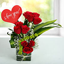 Red Roses Love Arrangement: Karwa Chauth Flowers