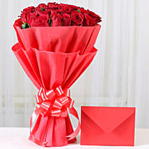Red Roses N Greeting card: Valentines Flowers Vapi
