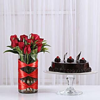 Red Roses Vase & Truffle Cake Combo: Cakes Combo