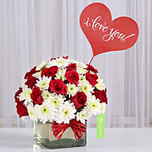 Red Roses & White Daisies in Glass Vase: Send Karwa Chauth Gifts for Husband