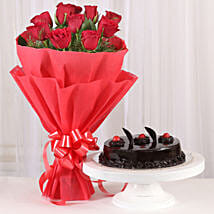 Red Roses with Cake: Rose Day Gifts