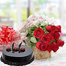 Red Roses With Truffle Cake: Birthday Gifts for Girlfriend