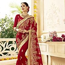 Red Saree with Heavy Floral Embroidery: Apparel Gifts