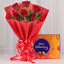 Red Roses & Cadbury Celebrations Combo: Flowers & Chocolates for Birthday