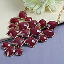 Red Stone Necklace: Send Rakhi to Anand