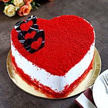 Red Velvet Heart Cake: Send Eggless Cakes to Lucknow