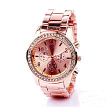 Rinestone Rose Gold Watch For Women: Sister