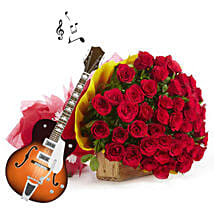 Romantic Red Melody: Flowers & Guitarist Service