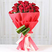 Romantic Red Roses Bouquet: Kiss Day Flowers