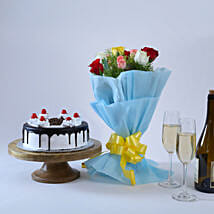 Roses and Black Forest Cake: Mumbai anniversary gifts