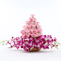 Roses And Orchids Basket Arrangement: Mothers Day Flowers Delhi