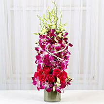 Roses And Orchids Vase Arrangement: Valentine Flowers for Boyfriend