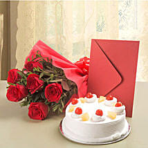 Roses N Cake Hamper: Flowers & Cards for Him