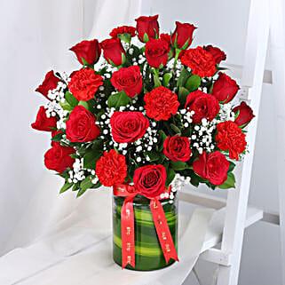 Roses N Carnations Arrangement: Flowers to Pune