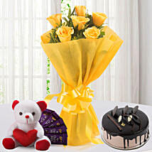 Roses N Choco Hamper: Send New Year Flowers & Chocolates
