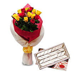 Roses N Kaju Katli EXDFNP104: Send Flowers & Sweets to Jaipur
