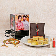 Rotating Lamp Rakhi Combo: Rakhi With Sweets Paradeep