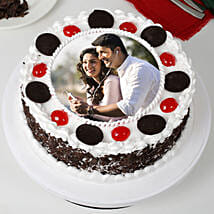 Round Black Forest Photo Cake: Photo cakes for anniversary