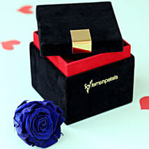 Royal- Forever Blue Rose in Velvet Box: Flowers for Anniversary