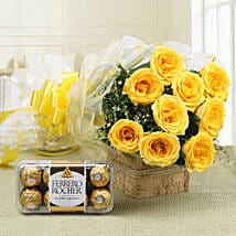 Royal Retreat- Yellow Roses & Ferrero Rochers: Send New Year Flowers & Chocolates