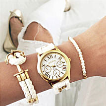 Sailor girl white bracelet stack: Watches