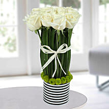 Serene White Rose Arrangement: Send Flowers to Chandigarh