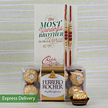 Set Of 2 Rakhi With Rocher: Rakhi Gifts to Latur