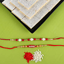 Set Of 2 Rakhis with Kaju Katli Combo: Set of 2 Rakhis