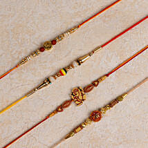 Set of 4 Designer Rakhis: Send Rakhi to Tumkur