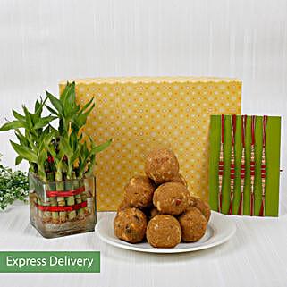 Set Of 5 Rakhi With Lucky Bamboo And Sweets: Send Set of 5 Rakhi