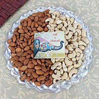 Silver Thali Of Dry Fruits: Send Bhai Dooj Gifts to Jodhpur
