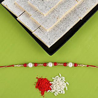 Pearl Rakhi & Kaju Katli Combo: Rakhi / Raksha Bandhan Gifts