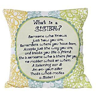 Sister Message Cushion: Send Home Decor to Bengaluru