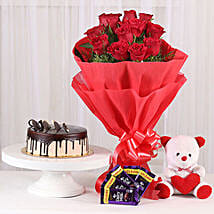 Softy Roses Hamper: Flower N Teddy