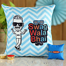 Sparkling Pearl Rakhi & Printed Cushion Combo: Send Rakhi With Cushions