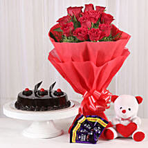 Roses with Teddy Bear, Dairy Milk & Truffle Cake: Flowers to Allahabad