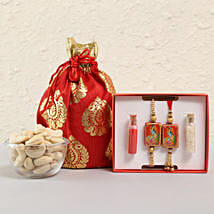 Spiritual Lumba Rakhi Set With Cashews: Send Rakhi to Andhra Pradesh