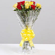 Striking Red & Yellow Rose Bouquet: Send Flowers to Sirsa