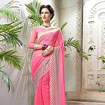 Striped Pink Faux Georgette Saree: