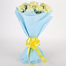 Sundripped Yellow Carnations Bouquet: Valentine Flowers for Boyfriend