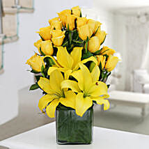Yellow Roses & Asiatic Lilies Vase Arrangement: New Year Gifts Ghaziabad