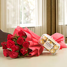 Red Roses & Ferrero Rocher Combo: New Year Flowers & Chocolates