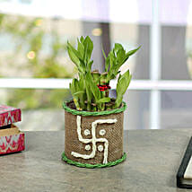 Swastika Two Layer Bamboo plant: Diwali Gifts for Him