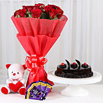 Red Roses Romantic Combo: Flowers & Teddy Bears - Friendship Day