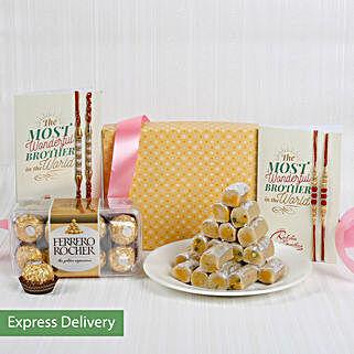 Sweet Pampering Rakhi Hamper: Send Set of 4 Rakhi