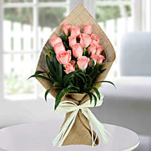 Sweet Pink Roses Bunch: Send Flowers