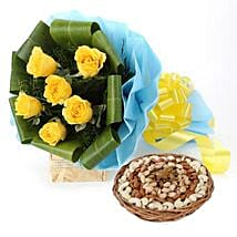 Symbol Of Greetings: Flower & Dryfruits for Fathers Day